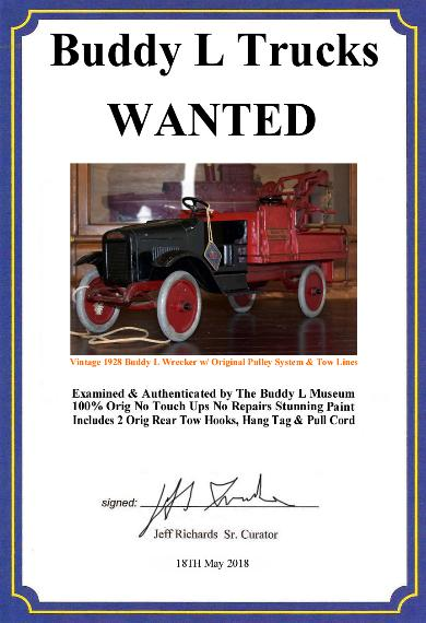 Buddy L Wrecker Truck, 1920's Buddy L Wrecking Truck Price, Buddy L Wrecker Truck Photos and Information, Vintage Buddy L Wrecker Truck Value Guide, Buddy L Wrecker For Sale, Buddy L Museum buying antique Keystone, Sturditoy  Wrecker for sale,. Buddy L Museum world's largest buyer of antique toy trucks, buying buddy l toys